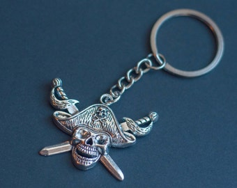 Pirate Keyring, Pirate Keychain, Skull and Crossbones, Pirate Jewelry, Nautical Keyring, Pirate fan, Pirate Gift, gift for pirate, geek gift