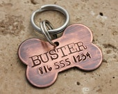 Copper Bone Dog Tag for Dogs - Personalized Dog Tag - Pet ID Tag - Dog Name Tag - Custom Dog Collar Tag - Puppy Tag - Metal Pet Tag - Buster