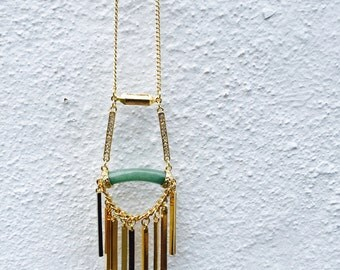 HANDMADE, Gold, Long Chain Necklace, Natural, BOHO, Jewelry, Long Necklace
