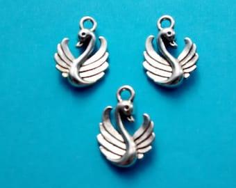 10 Swan Charms Silver - CS2049