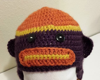 Child's crochet sock monkey hat