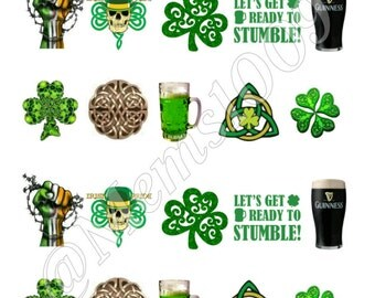 St. Patrick's Day Luck of the Irish Nail Art Waterslide Decals. Party decals