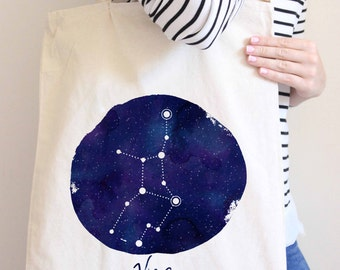 Astrology Tote Bag, Virgo Constellation Art Tote Bag, Virgo Art, Printed Tote Bag, Market Bag, Shopping Bag, Reusable Grocery Bag 0070