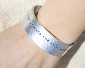 """Personalized Bracelet-""""life is a thrill that flies away""""-aluminum/bangle/vasco rossi"""