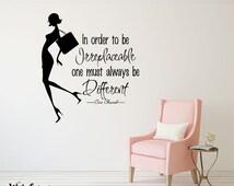 rta543 Coco Chanel Quote Words Sign Fashion Girls Gift Woman Kids Nursery Children Wall Decal Vinyl Decor Sticker Art Decor Bedroom Office
