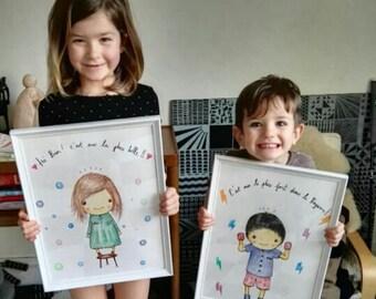 Child custom illustration / Decoration room/original request/artist A. Salhi