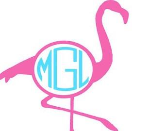 Flamingo Vinyl Monogram Decal! Pink Flamingo Summer Must Have Circle Monogram Sticker Car Decals Yeti Thermos Water Bottle Shirt HTV Iron On