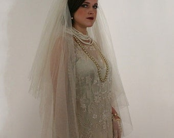 1920's Bridal Veil with Bugle Bead Crown
