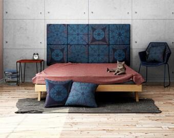 Headboard - upholstered modular wall panels PATTERN No. 1002 Blue Mandala