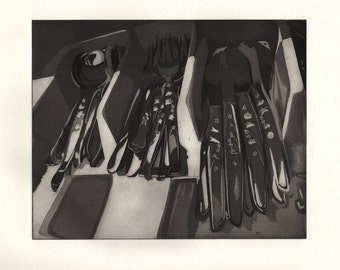 Kitchen Scene - Etching with Aquatint