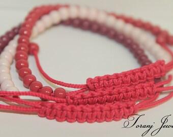 friendship bracelets,tiny beaded bracelets,adjustable braided bracelets,fashionable for teenagers,set of 3 pinkish bracelets