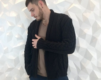 Ready to ship Hand knitted L/XL Luxury Wool Cardigan - Long sleeve cardigan - Mens Cardigan - Wool cardigan - Black Jacket - Black Sweater