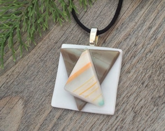 White, Brown, Orange Funky Geometry Fused Glass Pendant with Satin Necklace