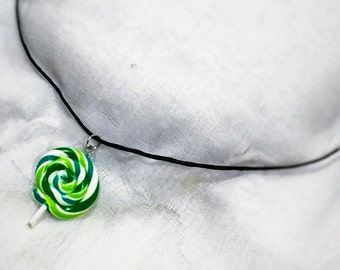 sour apple swirl lollipop necklace