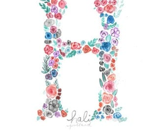Customizable Letter Watercolor Painting