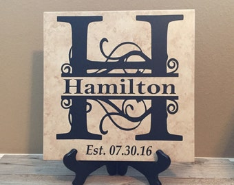 Personalized Name Tile, Last Name Sign, Wedding Gift, Anniversary Gift, Bridal Shower, Wedding, Established Sign, Family Sign, Name Sign