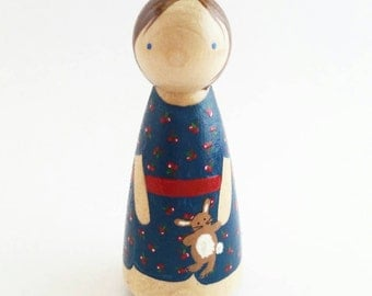 Custom Peg Doll// Cake Topper// Personalized Birthday Gift// Wooden Toy