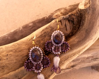 purple amethyst earrings and iris