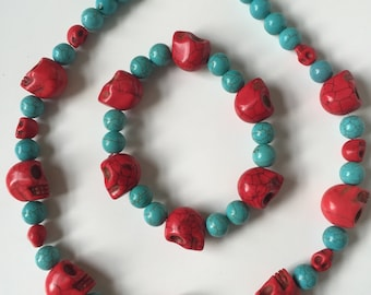Day of the Dead turquoise stone beads/sugar skulls  Bracelet and Necklace