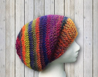 Purple Blue Green Slouchy Beanie Colorful Hat Warm Winter Wool Knit Beanie Crochet Womens Mens Hat 0001