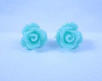Mint Rose 8mm Stud Earrings Handmade Kids Earrings
