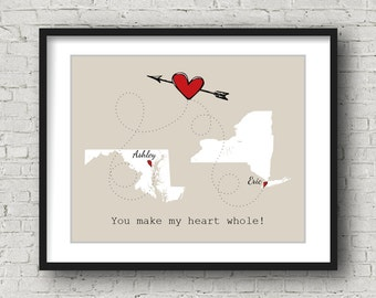 Graduation Gift for Best Friend Map, Personalized Graduation Gift for Her, Custom College Graduation Gift for Her, Long Distance Going Away