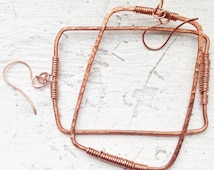 Copper earrings - Hammered copper rectangle hoops with copper wire threading, 100% pure copper hoop earrings