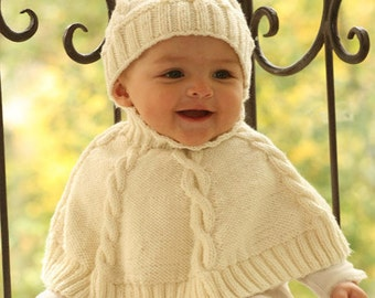 BABY PONCHO knitted PONCHO CAPE + Hat Merino in desired color