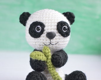 Panda with bamboo - amigurumi crochet toy
