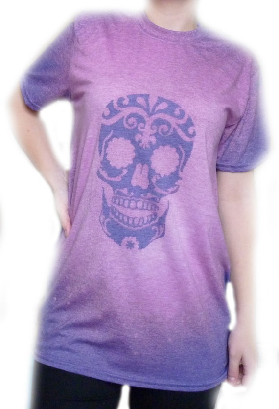 Hand designed sugar skull inspired day of the dead dia de for Sugar custom t shirts