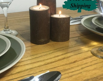 Three Tier Log Candle Holders
