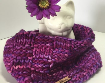 Purple Pink Violet Basketweave knit wool cowl