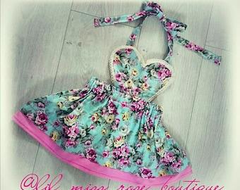 Some Like it Rosey Tie Neck Dress