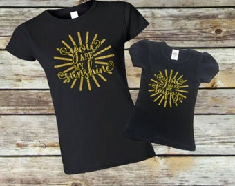 You are my sunshine shirt. Mom and me. Matching shirts. Mother daughter shirts. Mother daughter matching. You are my sunshine. Mommy and me