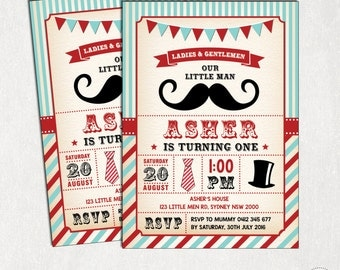 Little Man Birthday Invitation. Little Gentleman Invitation. Vintage Mustache First Birthday Printable Digital Invite. Bow tie Invite L-M1