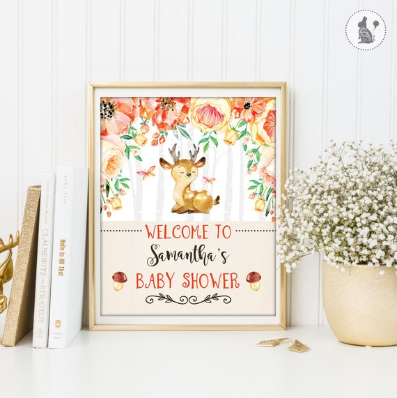 Deer Baby Shower Welcome Sign Woodland Baby Shower Printable
