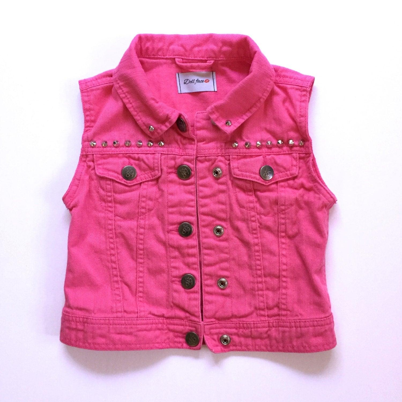 Girls Studded Pink Denim Vest Size 4 5