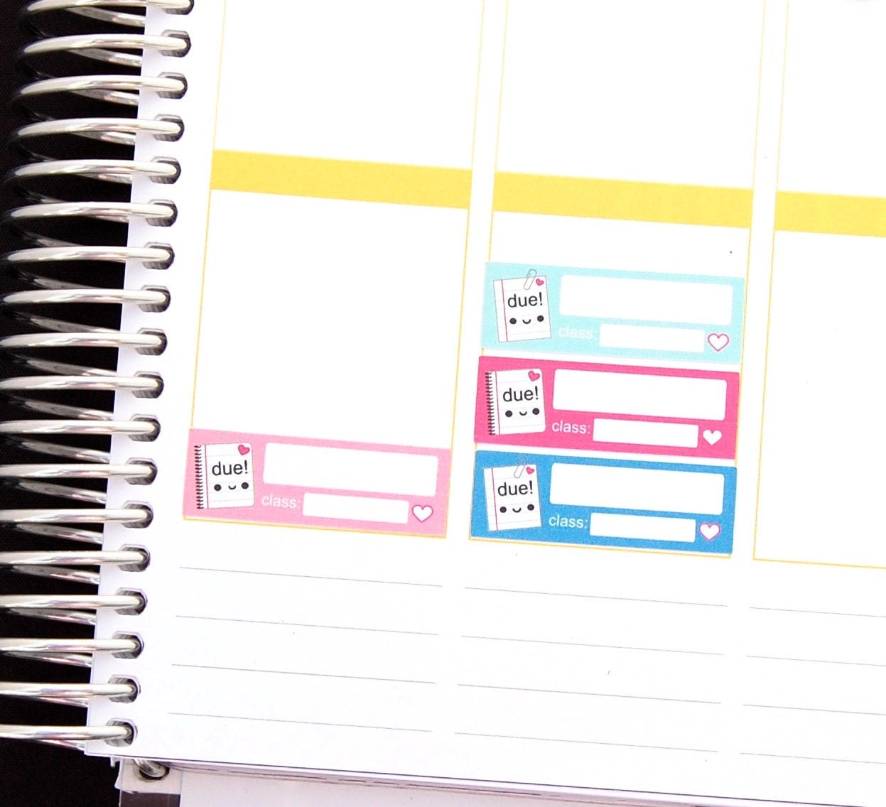 happy school assignment due reminder label cute kawaii