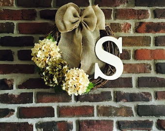 Monogram Wreath - Hydrangea Wreath - Initial Wreath - Door Wreath - Spring Wreath - Rustic Wreath - Everyday Wreath - Monogrammed Wreath