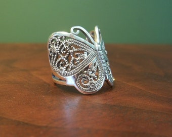 Vintage Sterling Silver Butterfly Ring with Crystals