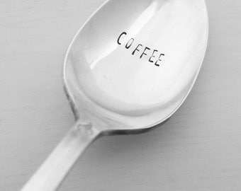 Coffee Stamped Spoon, Vintage Spoon, Antique Spoon, Hand Stamped, Coffee lover, Coffee Gift, Coffee Spoon, Gift for Coffee Lover, Birthday