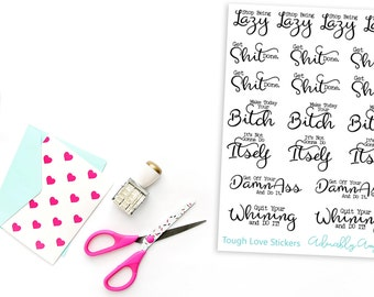 Tough Love Motivation Planner Stickers for Erin Condren, Plum Planner, Inkwell Press, Filofax, Kikki K or Any Size Planners