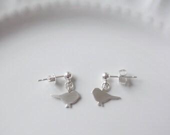 Silver Bird Stud Earrings, Tiny Bird Stud Earrings, Silver Earrings, Brushed Silver Bird Earrings, Gift for Her