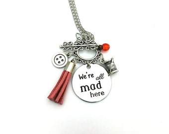 "We're all Mad Here Mad Hatter Alice in Wonderland Inspired Glass Beaded Tassel Charm 26"" Chain Necklace Silver Tone"