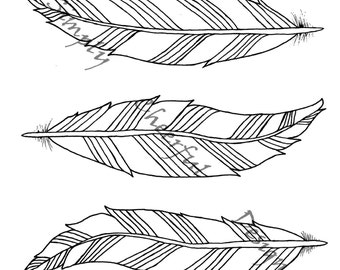 feather coloring page 3 aztec feathers printable coloring page for adults and children