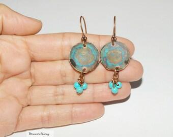 Copper dangle Earrings Blue Gemstone beads Metal Earrings Dangle Turquoise Patina Earrings Gypsy style jewelry Copper Blue long earrings