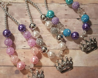 Princess tiara crown 1st birthday party photo prop chunky bubblegum bubble gum bead necklace silver pearl crystal pink purple blue turquoise