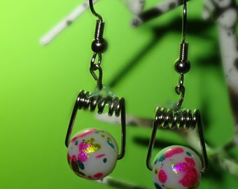 Pink, Blue, and Gold Paint Splatter Earrings