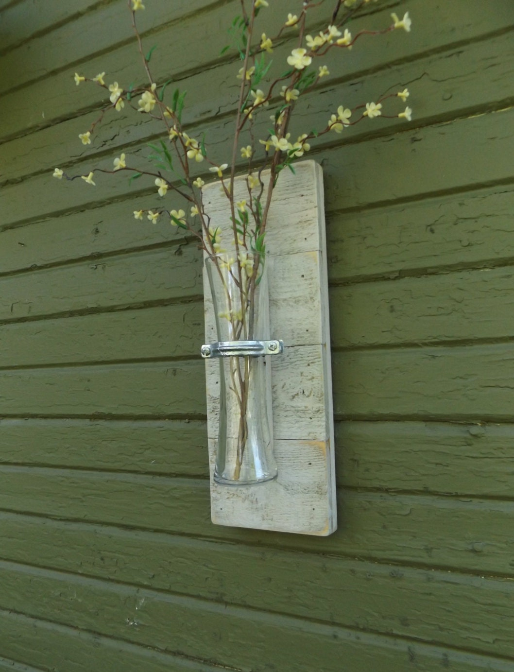 Rustic Wall Sconce. Wood Wall Sconce. Vase Sconce. White Wall Sconce. Flower Part 60