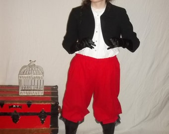 Custom size red pantaloons with black lace